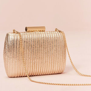 New With Tag Ribbed Metallic Clutch